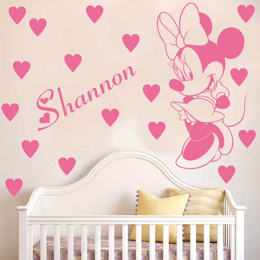 Cartoon customized name kids room decoration decals personalized minnie mouse wall sticker removable baby room decals cb 5