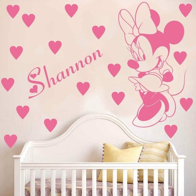 23093811fb Nome Personalizado Crianças Decoração do Quarto Decalques Personalizado  Minnie Mouse dos desenhos animados Adesivos de Parede