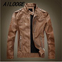 2016 New Autumn Winter Men Jacket Wind Breaker Male Pu Leather Jacket Motorbike Cashmere Coat Male