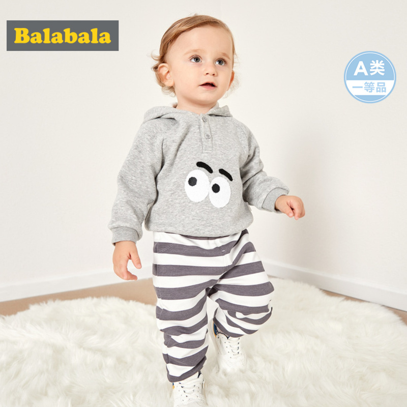 Balabala Infant Baby Boy Girl 2-Piece Fleece-Lined Thermal Hooded Sweatshirt + Joggers Set for Winter Newborn Baby Clothing Set Balabala Infant Baby Boy Girl 2-Piece Fleece-Lined Thermal Hooded Sweatshirt + Joggers Set for Winter Newborn Baby Clothing Set