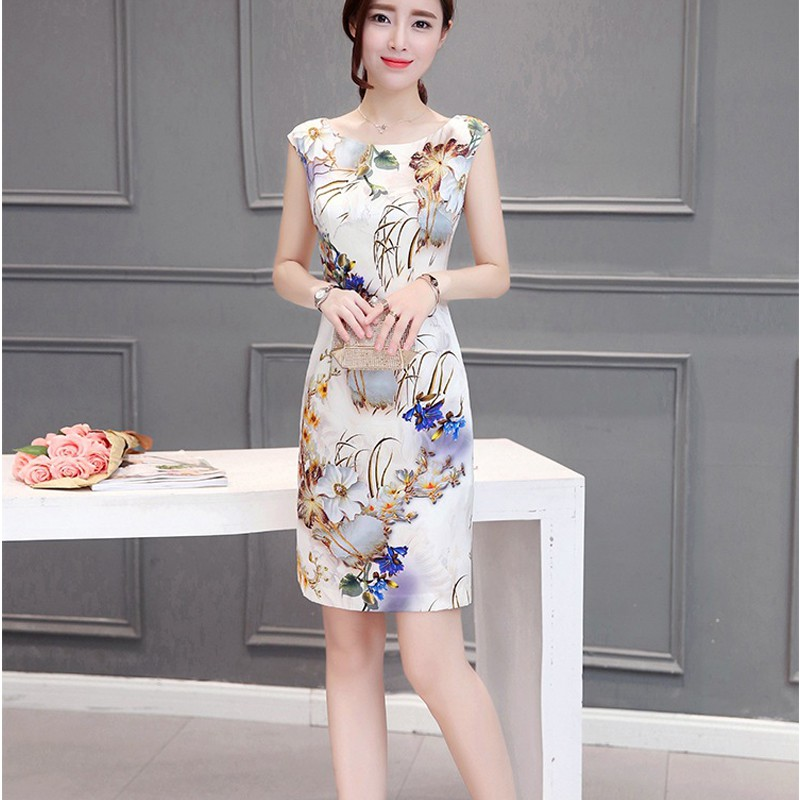 2019 Sexy Beach Dress O Neck Ethnic Style Floral Pattern Women Sleeveless Party