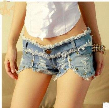 Nuevas mujeres Sexy Mini club nocturno pantalones cortos rasgados verano mujer Sexy Jeans remaches vaquero corto Bermudas pantalones cortos Feminino J2322