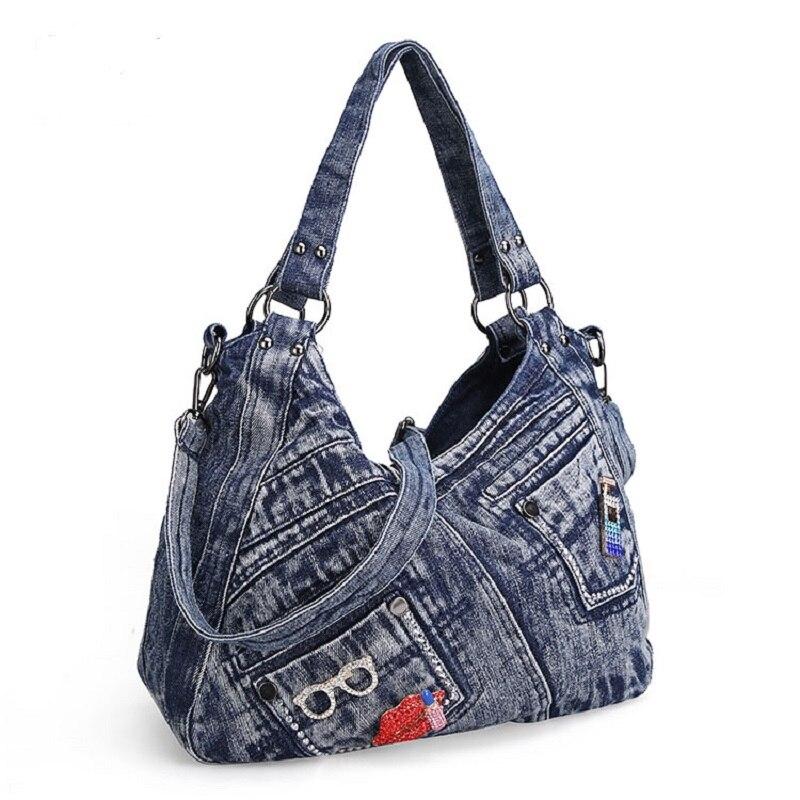 Təsadüfi Jeans Denim Qadın Çiyin Çantaları Cib Vintaj Çanta - Çantalar - Fotoqrafiya 6