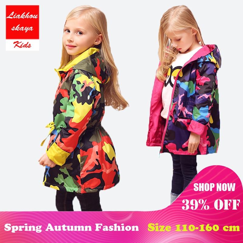 2018 Barnens jacka för tjejer Våren Teengers jacka Kids Tops Outwear Camo Hooded Windbreaker Tunn vattentät Trench Coat