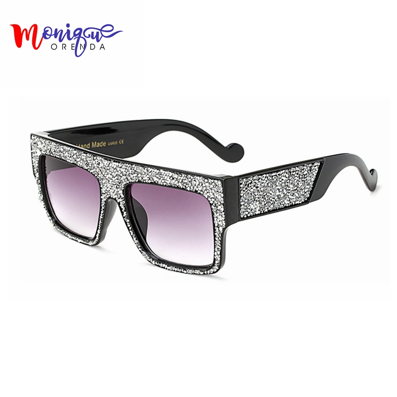 2017 Fashion sunglasses women Brand Designer Square Men Sun glasses Luxury Rhinestone Sunglasses Big Size Cool