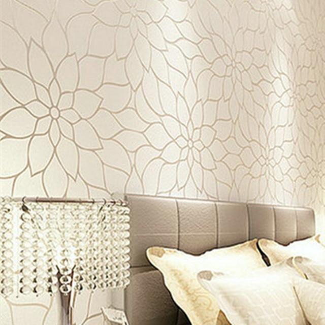Gold Glitter Modern Wallpaper Flower Designs Textured 3d Wall Panel