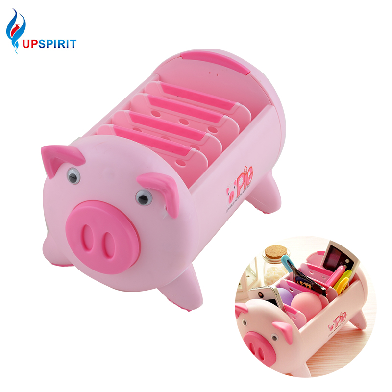 Upspirit Pig Shaped Plastic Storage Box Adjusted 5 Lattie Organizer Box Bedding Sundries Remote Container Controller Box Basket