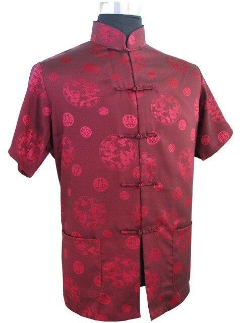 Top vogue burgundy men 39 s silk satin shirt top chinese for Silk short sleeve shirt