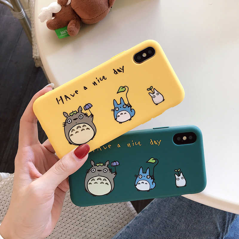 For iPhone 7 6 6s 8 X 7Plus Lovely Cartoon totoro phone case for iphone X xr xs max matte Thicken silicone cover capa fundas 10