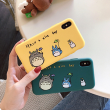 For iPhone 7 6 6s 8 X 7Plus Lovely Cartoon totoro phone case for iphone xr xs max matte Thicken silicone cover capa fundas 10