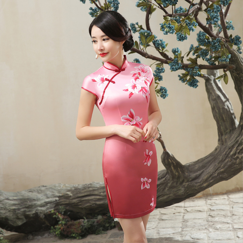 Chinese Cheongsam Elegant Slim Floral Casual Vintage Women Dress Satin Tang Suit Short Dresses S-XXL