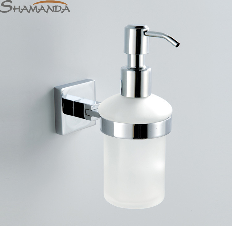 Free shipping wall soap dispenser brass base with chrome for Bathroom accessories glass