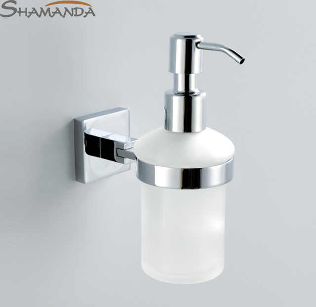 Free Shipping Wall Soap Dispenser Br Base With Chrome Finish Frosted Gl Container Bathroom Accessories