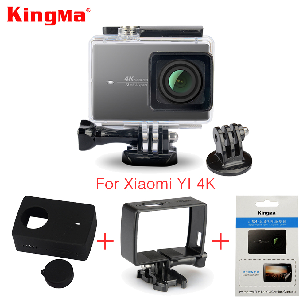 Kingma Waterproof Case+Frame+Screen Protector Film+ Silicone Case+Lens Cover For Xiaomi yi 4K Action Camera 2 II Accessories Kit
