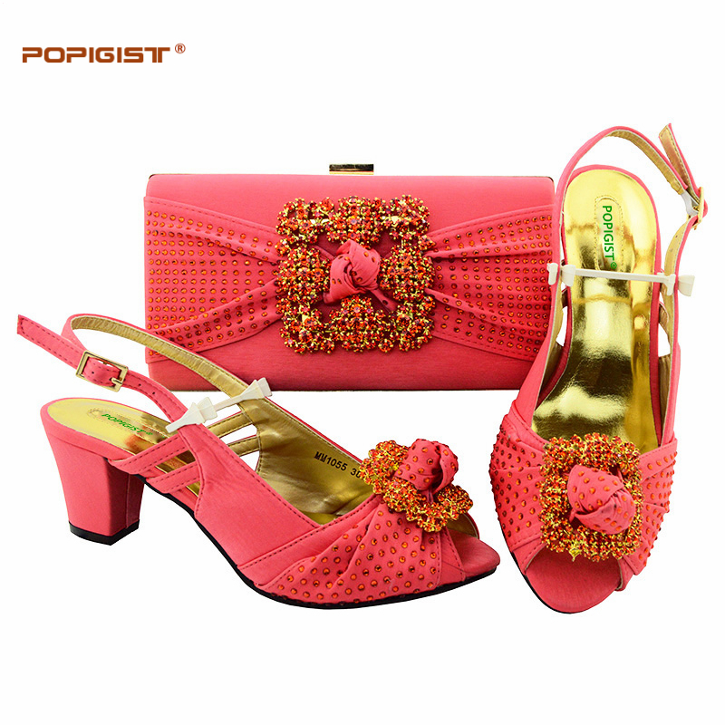 52034a339209 Latest Coral Color Italian Shoes with Matching Bags Shoes and Bag ...