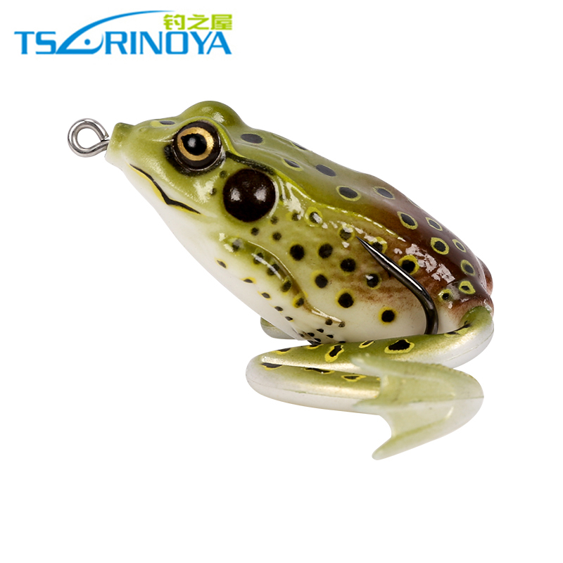 Trulinoya soft tube bait plastic fishing lures frog lure treble hooks Topwater ray frog 5.5CM 16G artificial soft bait trulinoya ray frog style soft plastic fishing lure bait w hook beard fluorescent yellow