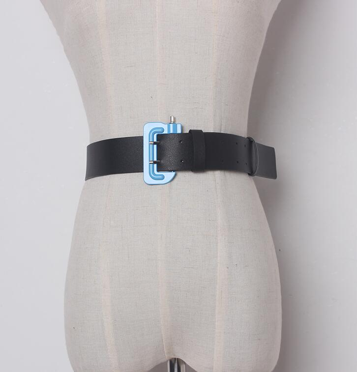 Women's Runway Fashion Contrast Color PU Leather Cummerbunds Female Dress Corsets Waistband Belts Decoration Wide Belt R1620