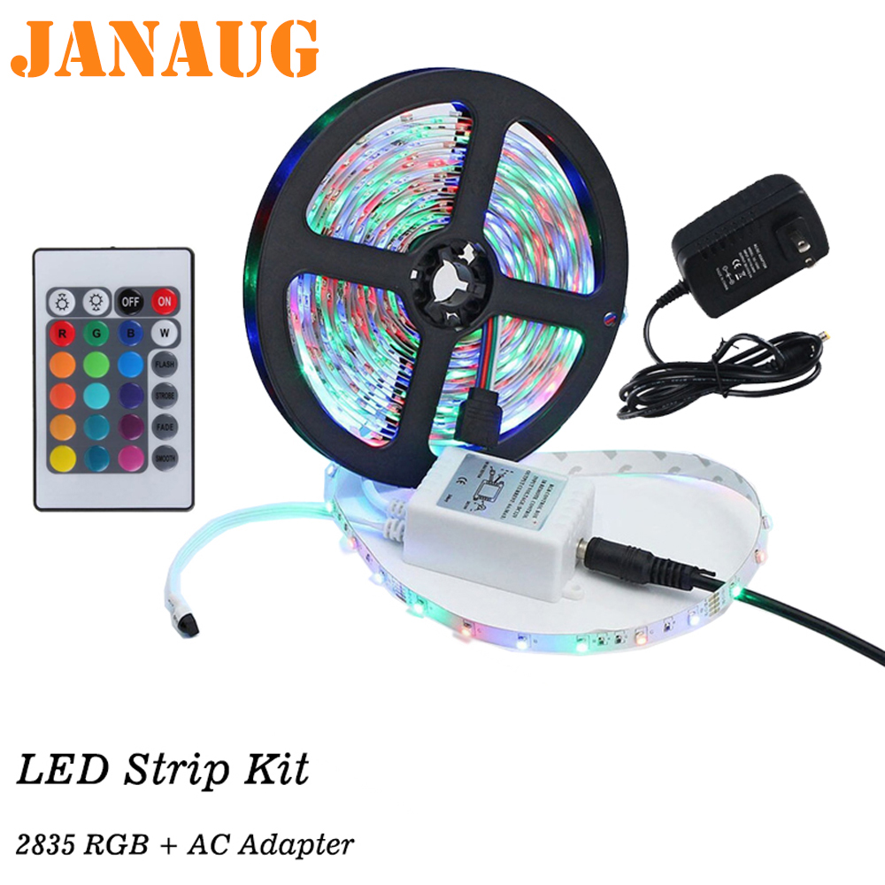 Us 13 63 Led Light Strips Super Bright 5050 2835 Rgb Monocolor Tape Kit For Cove Cabinet Kitchen Ceiling Lighting In