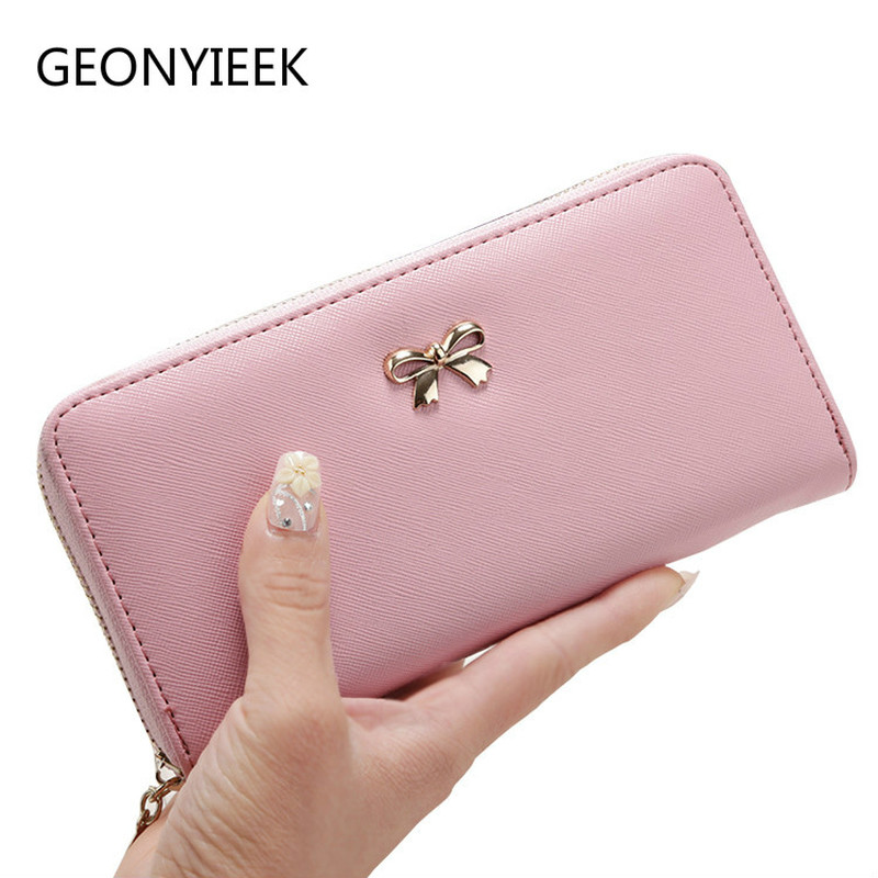Women Long Clutch Wallets Female Fashion Pu Leather Bowknot Coin Bag Phone Purses Famous Designer Lady Cards Holder Wallet