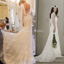 2015 Top Selling Backless Wedding Dresses Lace Sheath V Neck Applique Sweep Train Bridal Gowns yk1A347