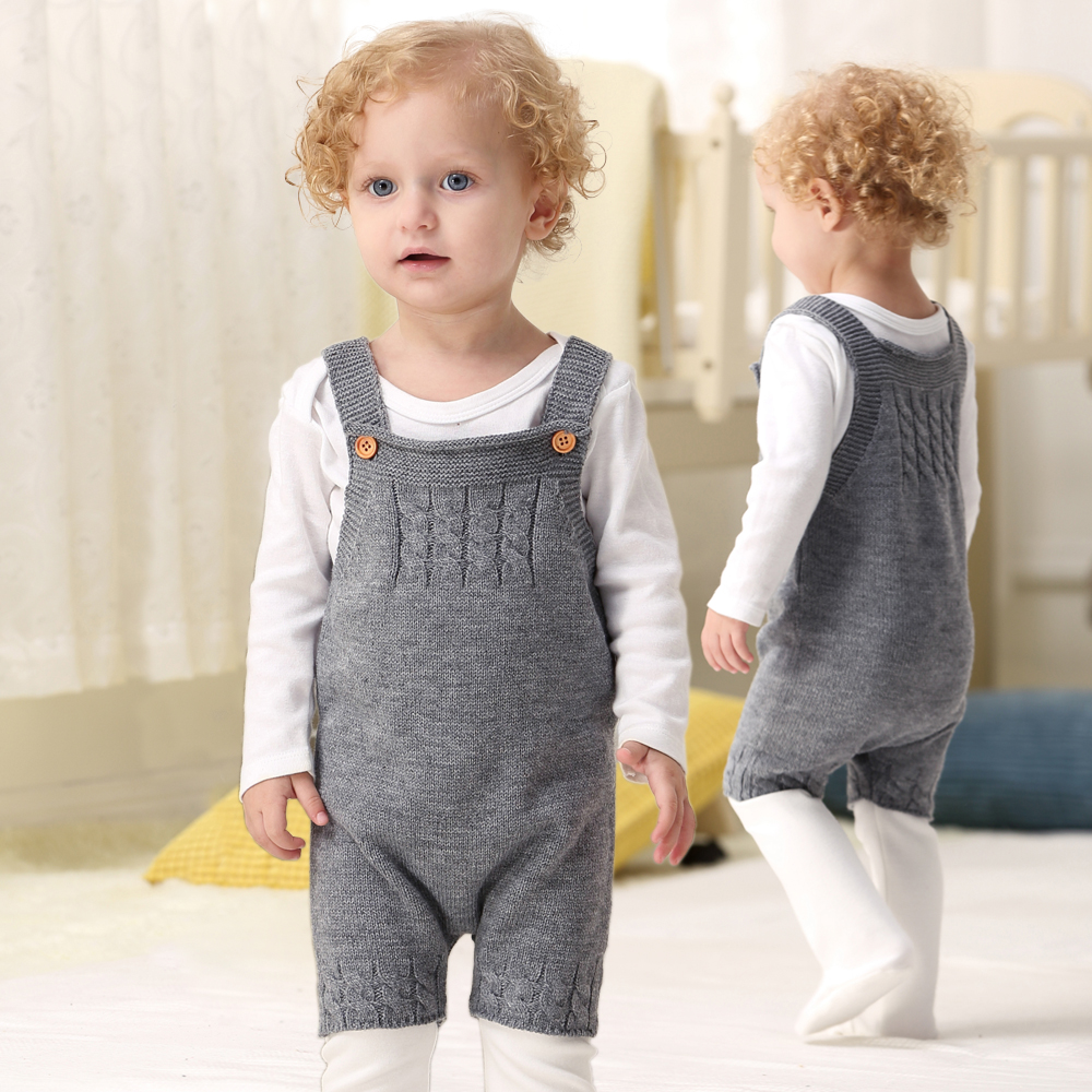 2018 Autumn Toddler Boys Knitting Rompers Grey Sleeveless Baby Girls Jumpsuits Outfits Winter Children's Overall One Piece 0-24M navy square neck sleeveless overall outfits