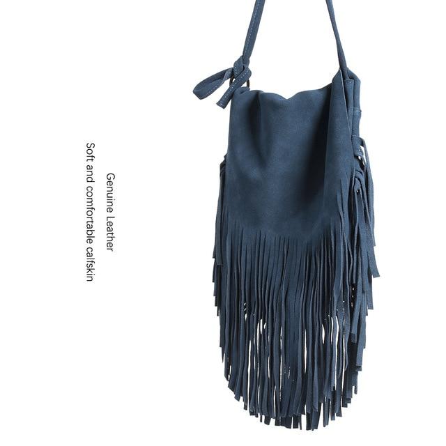 807fcc97bd 100% Real Suede Leather Women Tassel Bag Leisure Retro Bohemian Fringe  Burgundy Cross Body Bag
