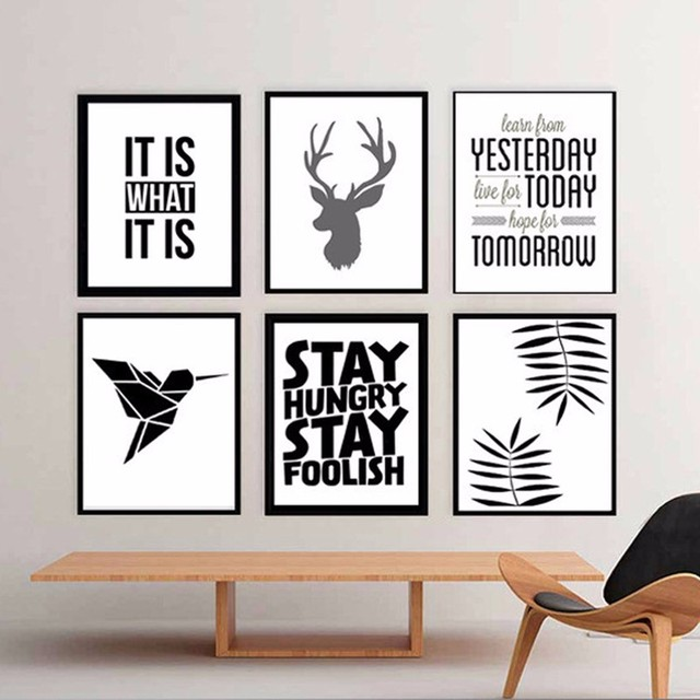 hot moderne deer poster spr che zitate leinwandbilder pop kunst abstrakte lgem lde f r. Black Bedroom Furniture Sets. Home Design Ideas