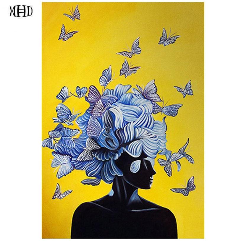 MHD New 5d diy diamond painting Woman Butterfly full square diamond embroidery crystal diamond mosaic handmade art suite