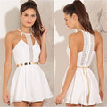 Fashion Women Solid Lace Sling Vest V-Neck White Rompers Camisole Jumpsuits Clothes