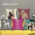 Capa de almofada Cães 45X45 cm Cão Poodle Impresso Bonito Fronhas Fronha Sofá Quarto Decoração
