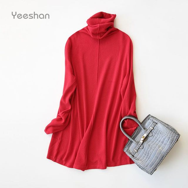 Yeeshan A-line Long Sweater Women Cashmere Long Sleeve Women's Sweater Stand Collar 90s Brand Women Sweaters and Pullovers