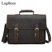 Genuine Leather Coffee Men Briefcase 14 inch Laptop Business Bag Cowhide Men's Crazy Horse Messenger Bags Luxury Handbags LB1081