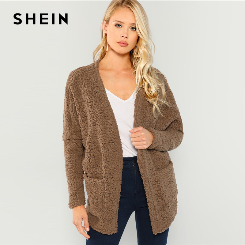 Abrigo de piel sintética marrón SHEIN frente abierto Teddy Casual bolsillo cuello en V manga larga abrigo de invierno para mujer