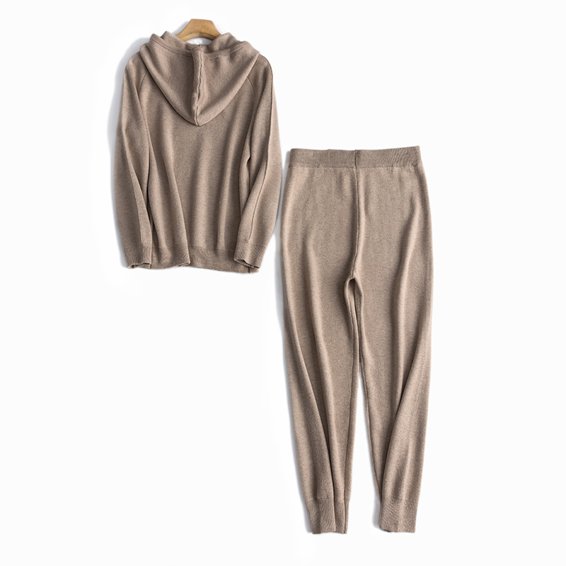 Wool Blends Knitted Women Fashion Hooded Coat Pants 2pcs Set Solid Color M/L/XL