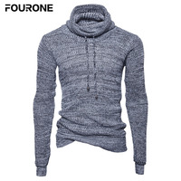 Mens Slim Fit High Neck Drawstring Long Sleeve Pullover Solid Knits Sweater For Autumn Winter