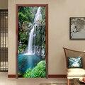 3D фото обои водопад природа пейзаж Дверь Наклейка ПВХ водонепроницаемый самоклеющиеся двери росписи Papel де Parede 3D домашний декор