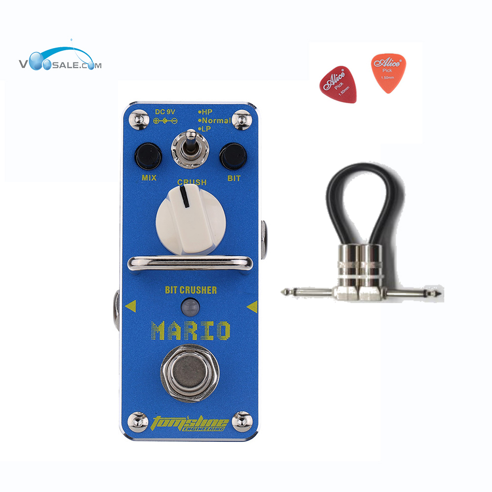 AMO-3 Mario Bit Crusher Electric Guitar Effect Pedal Aroma Mini Digital Pedals Full Metal Shell With True Bypass + Free Cable aroma aos 3 octpus polyphonic octave electric guitar effect pedal mini single effect with true bypass