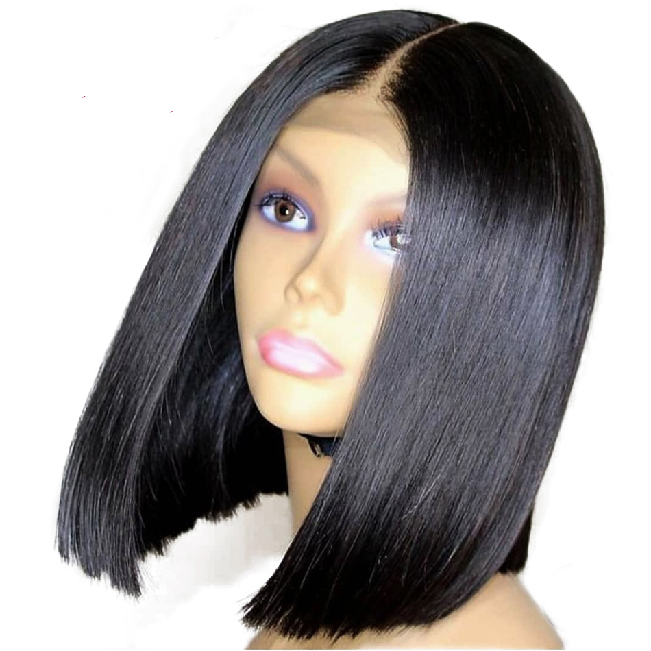 LUFFYHAIR Brazilian Remy Human Hair Short Bob Wig Deep Parting 13x6 Lace Front Wig Straight Bob