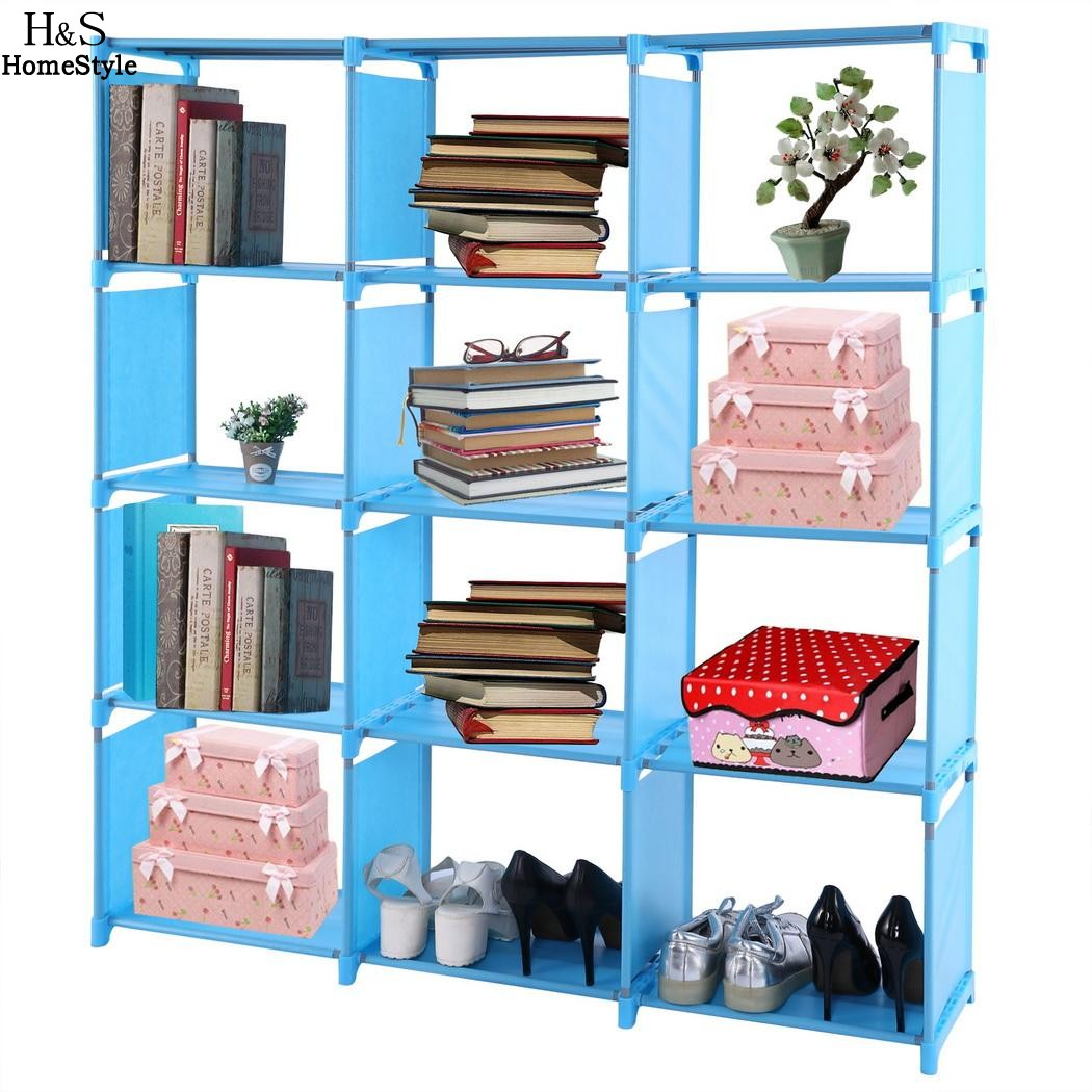 Homdox 4-tier Storage Cube Closet Organizer Shelf 12-cube Cabinet Bookcase OSB005391 N30* children s bookcase shelf bookcase cartoon toys household plastic toy storage rack storage rack simple combination racks