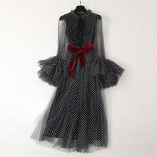 Atacado pista moda elegante vestido de verão moda manga longa alargamento dot malha preto vestido longo festa vestido