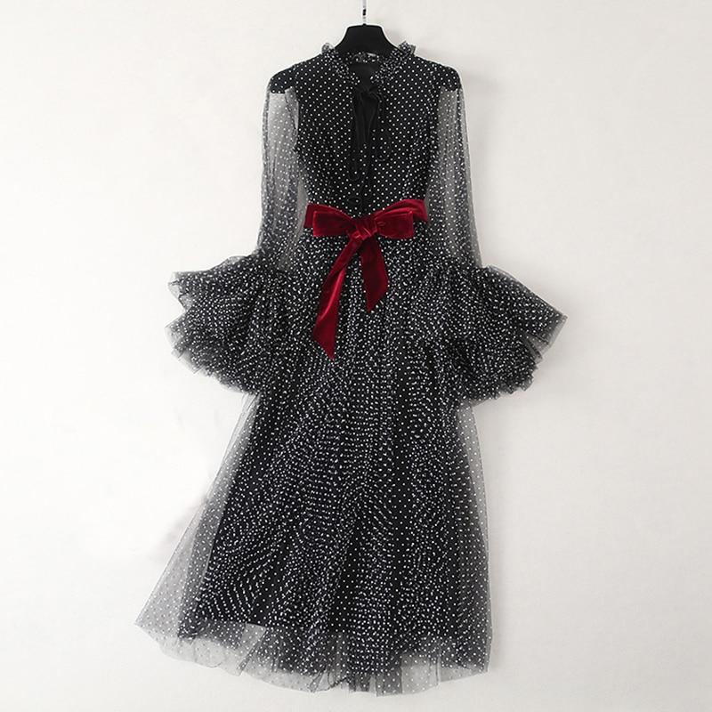 VERDEJULIAY piste mode robe élégante 2019 été mode à manches longues Flare Dot maille noir longue robe de soirée vestido Vestido
