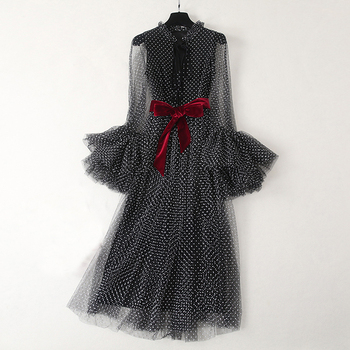 Wholesale Runway Fashion Elegant Dress Summer Long Sleeve Flare Dot Mesh Black long Party vestido Vestido