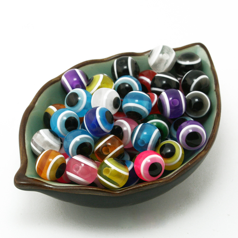 12mm Round Assorted Colors Stripe Resin Evil Eye Beads For