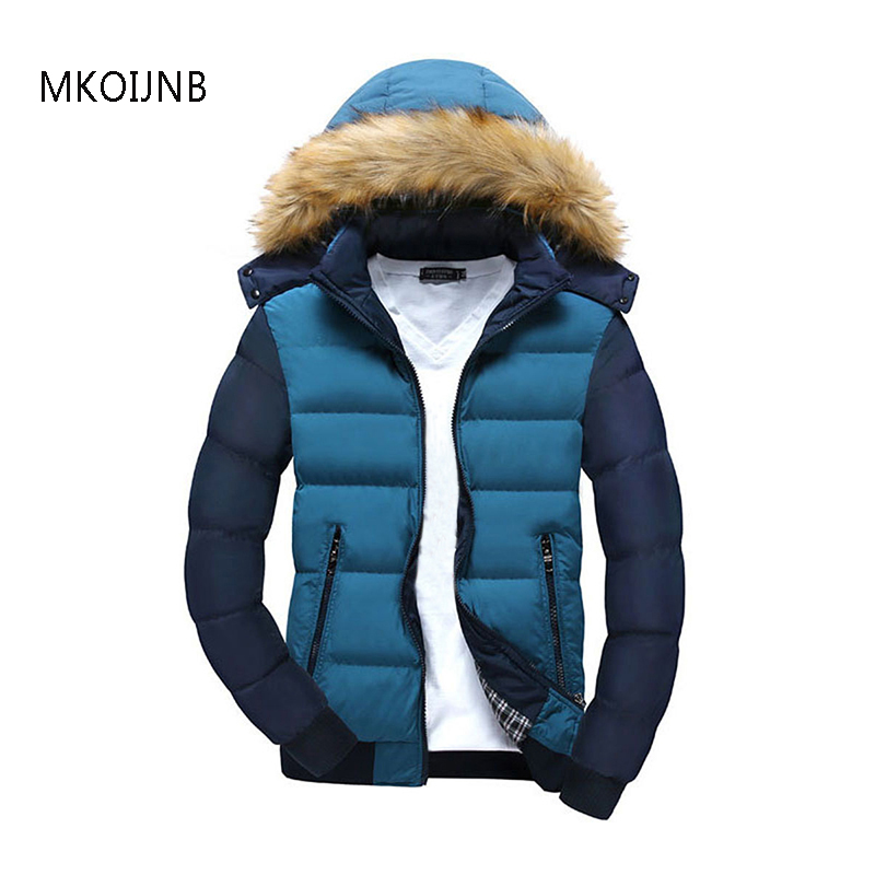 MKOIJNB Hooded Autumn Winter Jackets Men European Style Casual Slim Fit Stand Collar Patchwork Thick Mens Jacket Parkas Coats
