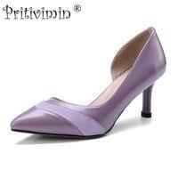 Pritivimin 2018 señoras punta dedo del pie fino tacón Zapatos hechos a mano mujeres de cuero genuino tacones niñas moda púrpura bombas FN160