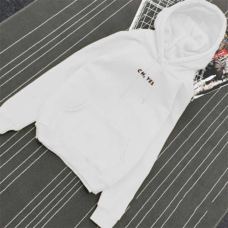 Herfst Winter Fleece Oh Ja Brief Harajuku Print Trui Dikke Losse Vrouwen Hoodies Sweatshirt Vrouwelijke Toevallige Jas