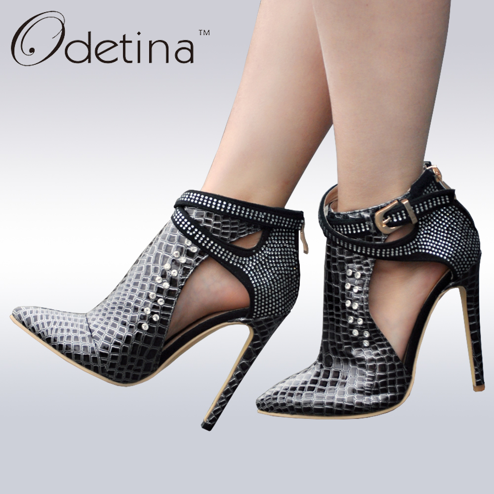 ФОТО Odetina 2017 Brand New Women High Heel Sandals Boots Ankle Buckle Strap Cut Outs Summer Woman Shoes Rhinestone Booties Big Size
