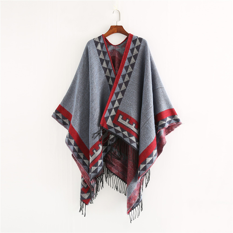 Image 2 - Mingjiebihuo New European and American style fashion geometric color imitation comfortable temperament warm poncho shawl scarf-in Women's Scarves from Apparel Accessories on AliExpress