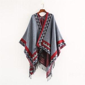 Image 2 - Mingjiebihuo nuovo stile europeo e americano moda geometrica colore imitazione confortevole temperamento caldo sciarpa scialle poncho