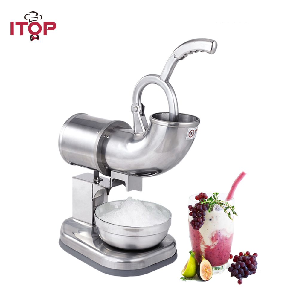 ITOP Ice Shaver Machine Electric Snow Cone Maker Stainless Steel Shaved Ice Machine 145lbs Per Hour stainless steel electric ice shavers crusher chopper ice slush maker icecream snow cone ice block breaking machine eu us plug